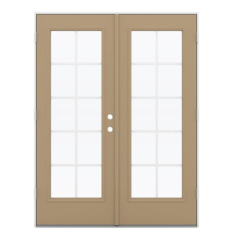 ReliaBilt 59.5-in Grilles Between the Glass Warm Wheat Steel French Outswing Patio Door