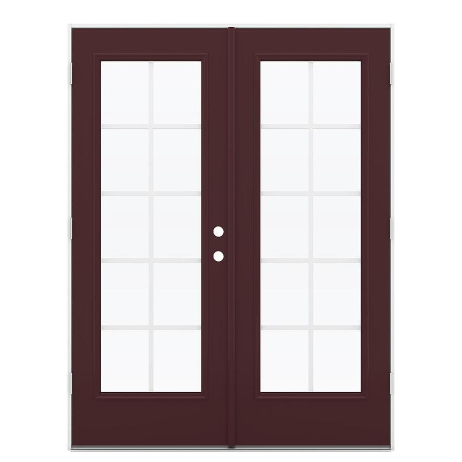 ReliaBilt 59.5-in Grilles Between the Glass Currant Steel French Outswing Patio Door