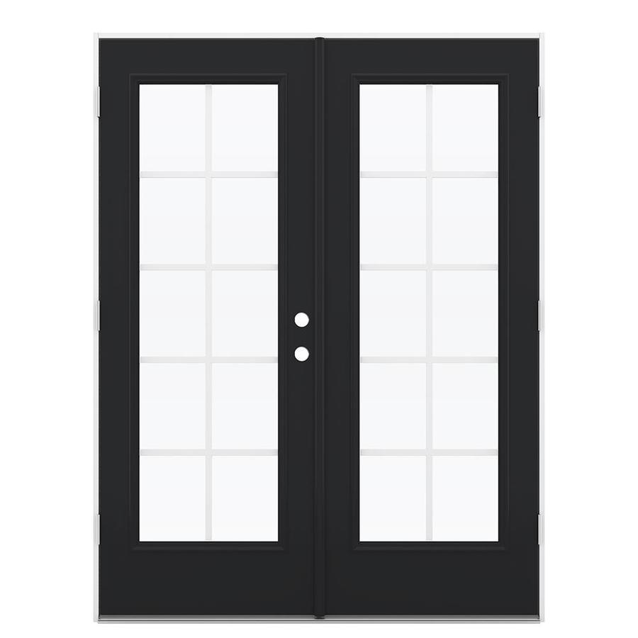ReliaBilt 59.5-in Grilles Between the Glass Peppercorn Steel French Outswing Patio Door