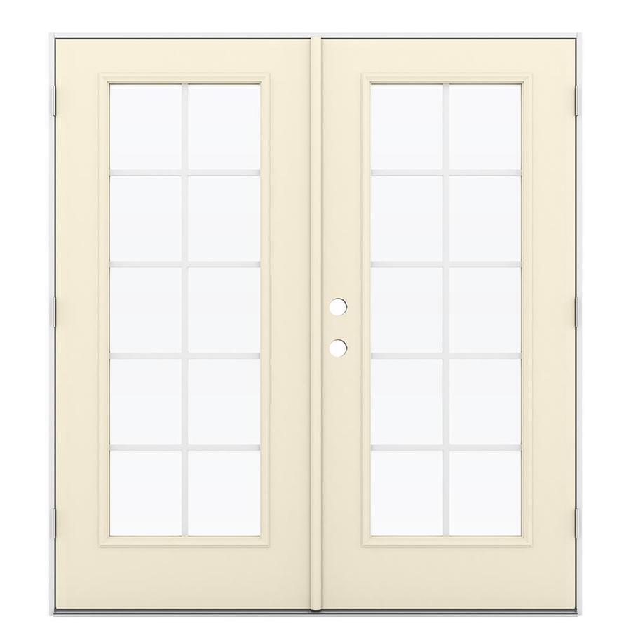 ReliaBilt 71.5-in Grilles Between the Glass Bisque Steel French Outswing Patio Door