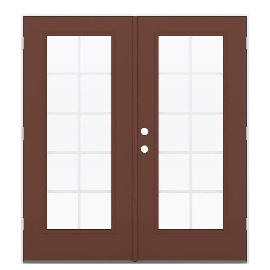 ReliaBilt 71.5-in Grilles Between the Glass Foxtail Steel French Outswing Patio Door