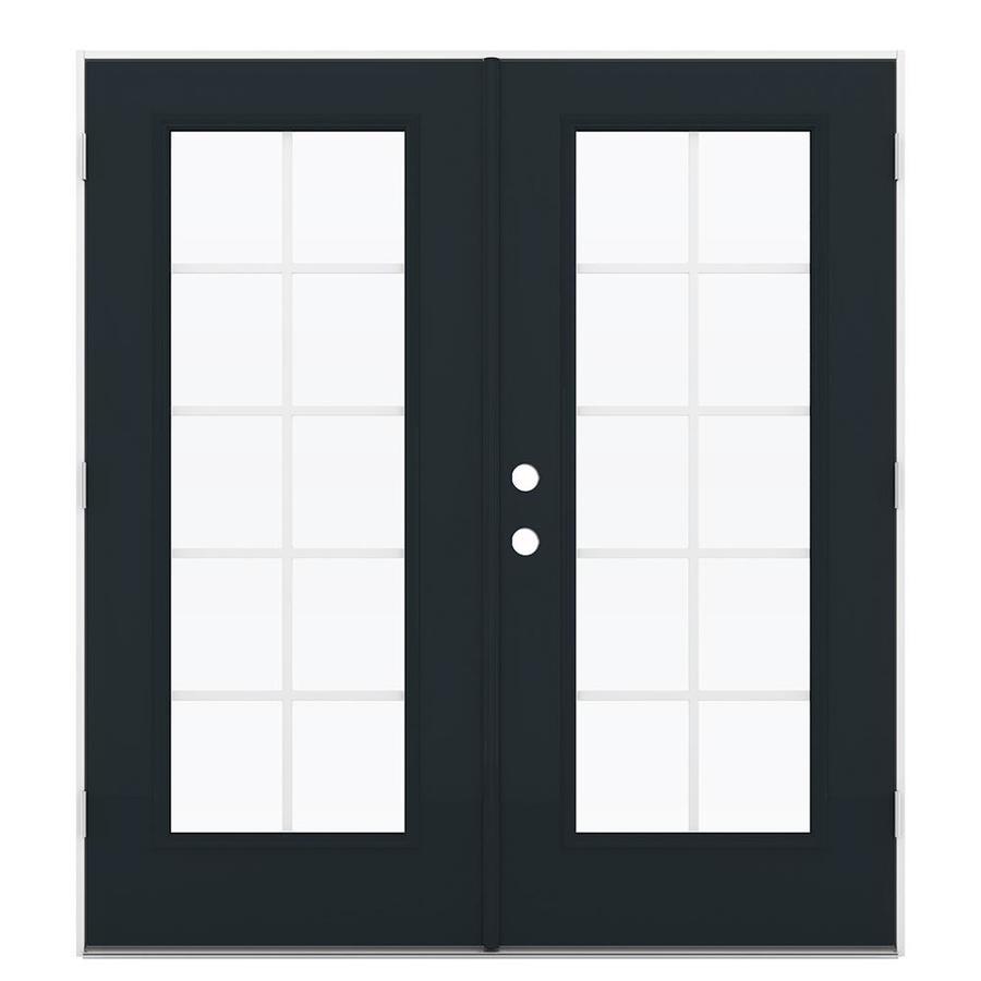 ReliaBilt 71.5-in Grilles Between the Glass Eclipse Steel French Outswing Patio Door