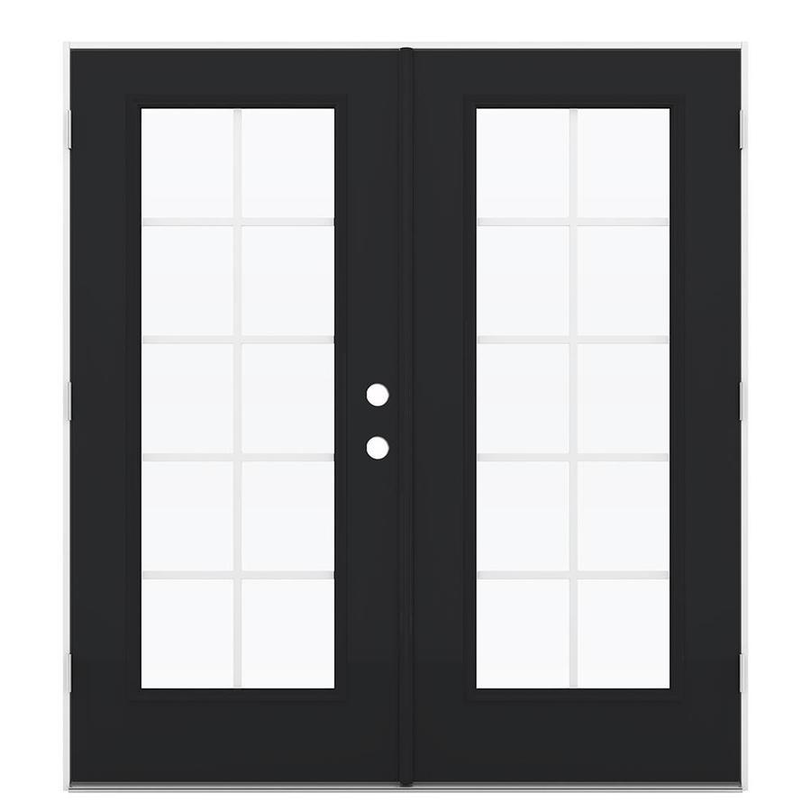 ReliaBilt 71.5-in Grilles Between the Glass Peppercorn Steel French Outswing Patio Door