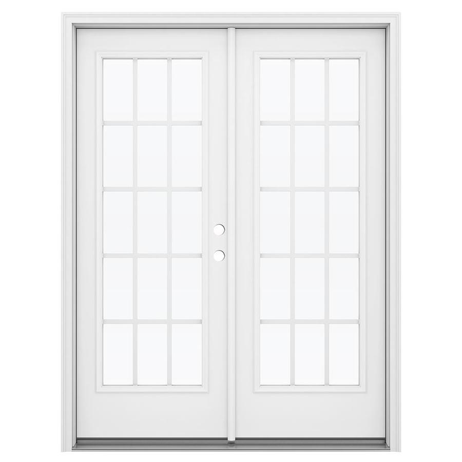 ReliaBilt 59.5-in 15-Lite Grilles Between the Glass Primed Steel French Inswing Patio Door