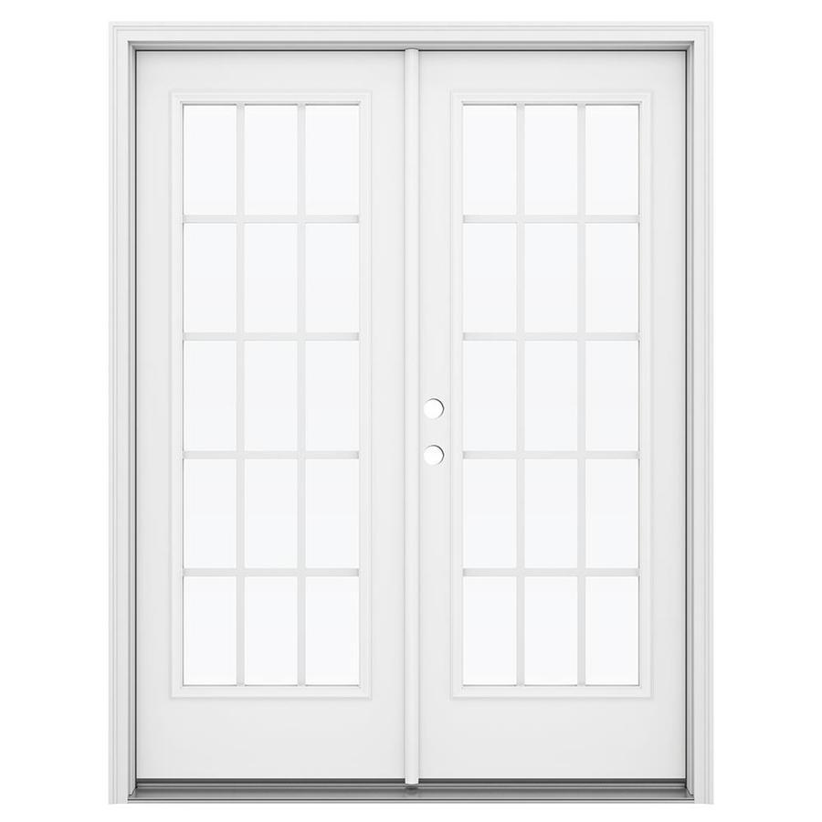 ReliaBilt 59.5-in 15-Lite Grilles Between the Glass Arctic White Steel French Inswing Patio Door