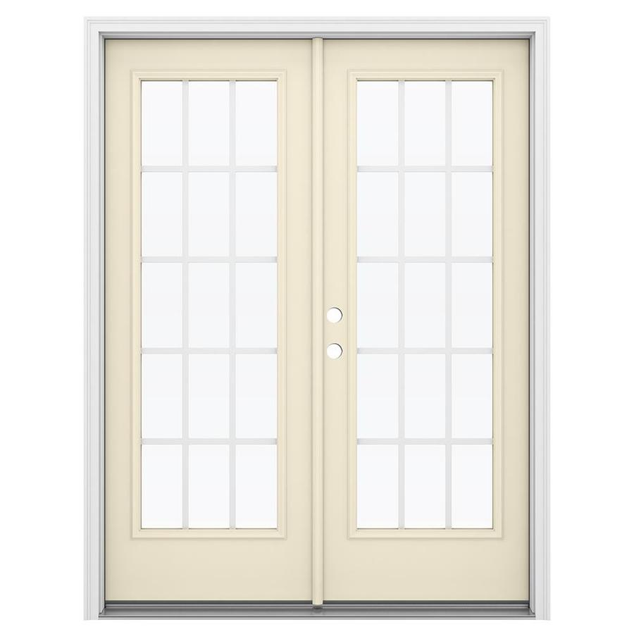 ReliaBilt 59.5-in 15-Lite Grilles Between the Glass Bisque Steel French Inswing Patio Door