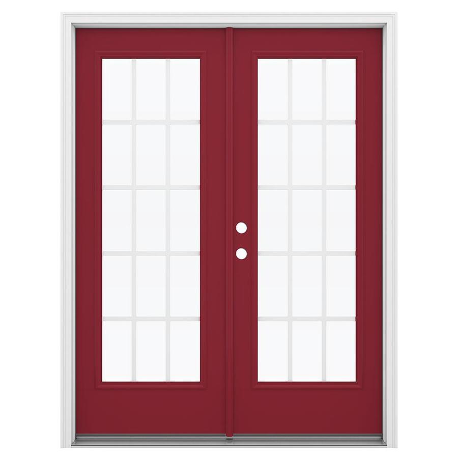 ReliaBilt 59.5-in 15-Lite Grilles Between the Glass Roma Red Steel French Inswing Patio Door