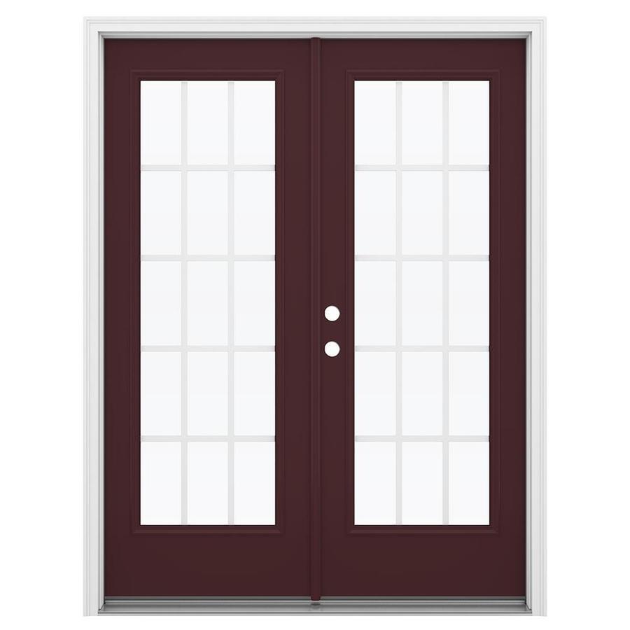 ReliaBilt 59.5-in 15-Lite Grilles Between the Glass Currant Steel French Inswing Patio Door