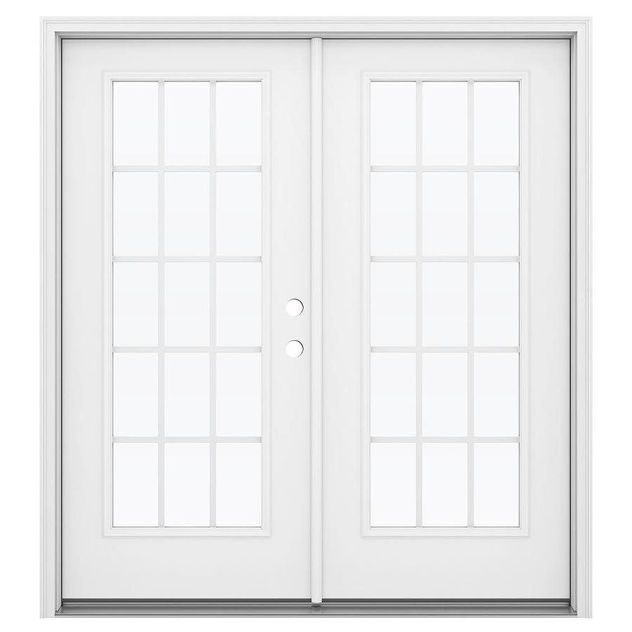 ReliaBilt 71.5-in 15-Lite Grilles Between the Glass Primed Steel French Inswing Patio Door
