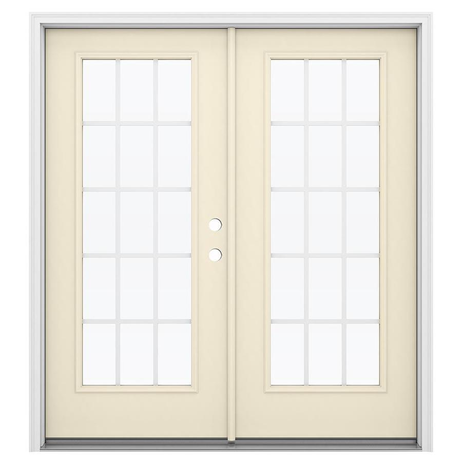 ReliaBilt 71.5-in 15-Lite Grilles Between the Glass Bisque Steel French Inswing Patio Door