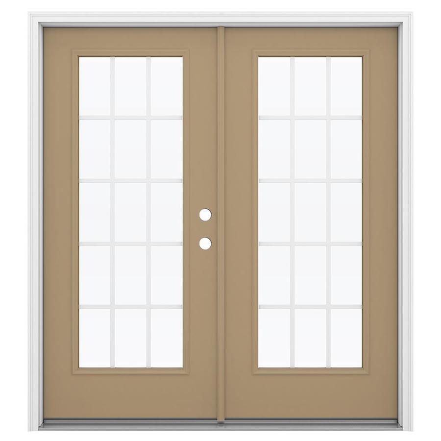 ReliaBilt 71.5-in 15-Lite Grilles Between the Glass Warm Wheat Steel French Inswing Patio Door