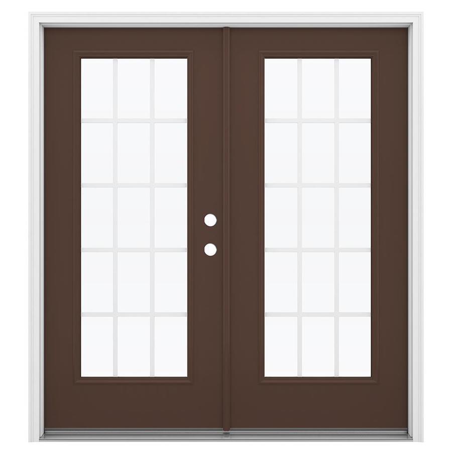 ReliaBilt 71.5-in 15-Lite Grilles Between the Glass Chococate Steel French Inswing Patio Door