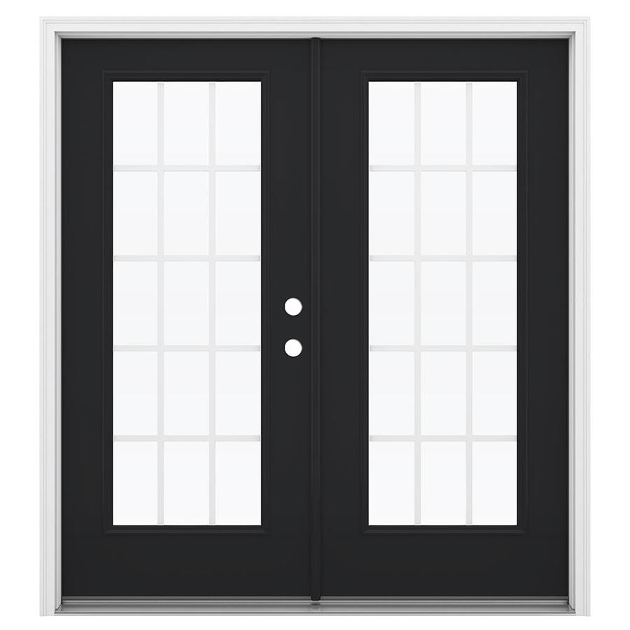 ReliaBilt 71.5-in 15-Lite Grilles Between the Glass Peppercorn Steel French Inswing Patio Door