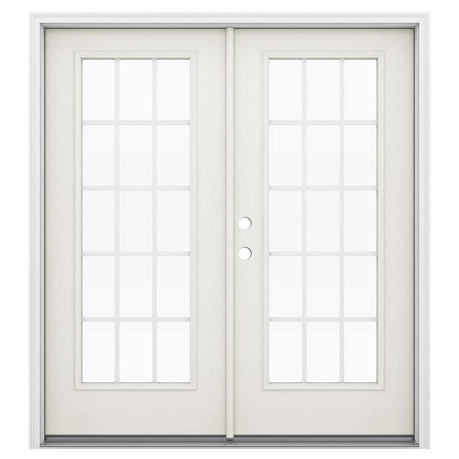 ReliaBilt 71.5-in 15-Lite Grilles Between the Glass Sandy Shore Steel French Inswing Patio Door