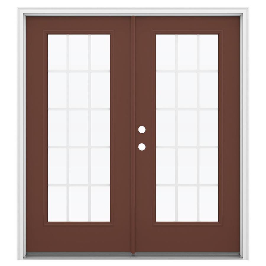 ReliaBilt 71.5-in 15-Lite Grilles Between the Glass Foxtail Steel French Inswing Patio Door