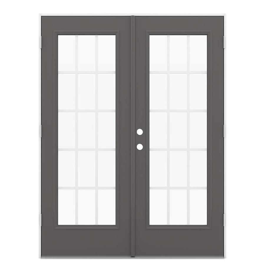ReliaBilt 59.5-in 15-Lite Grilles Between the Glass Timber Gray Steel French Outswing Patio Door
