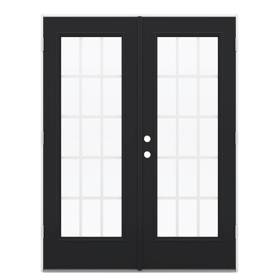 ReliaBilt 59.5-in 15-Lite Grilles Between the Glass Peppercorn Steel French Outswing Patio Door
