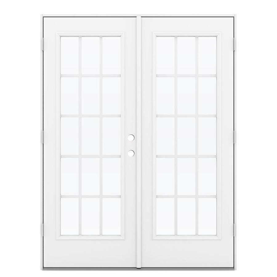 ReliaBilt 59.5-in 15-Lite Grilles Between the Glass Primed Steel French Outswing Patio Door