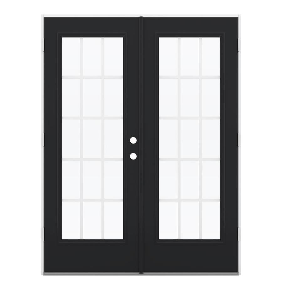 ReliaBilt 59.5-in 15-Lite Grilles Between the Glass Peppercorn Steel French Outswing Patio Door