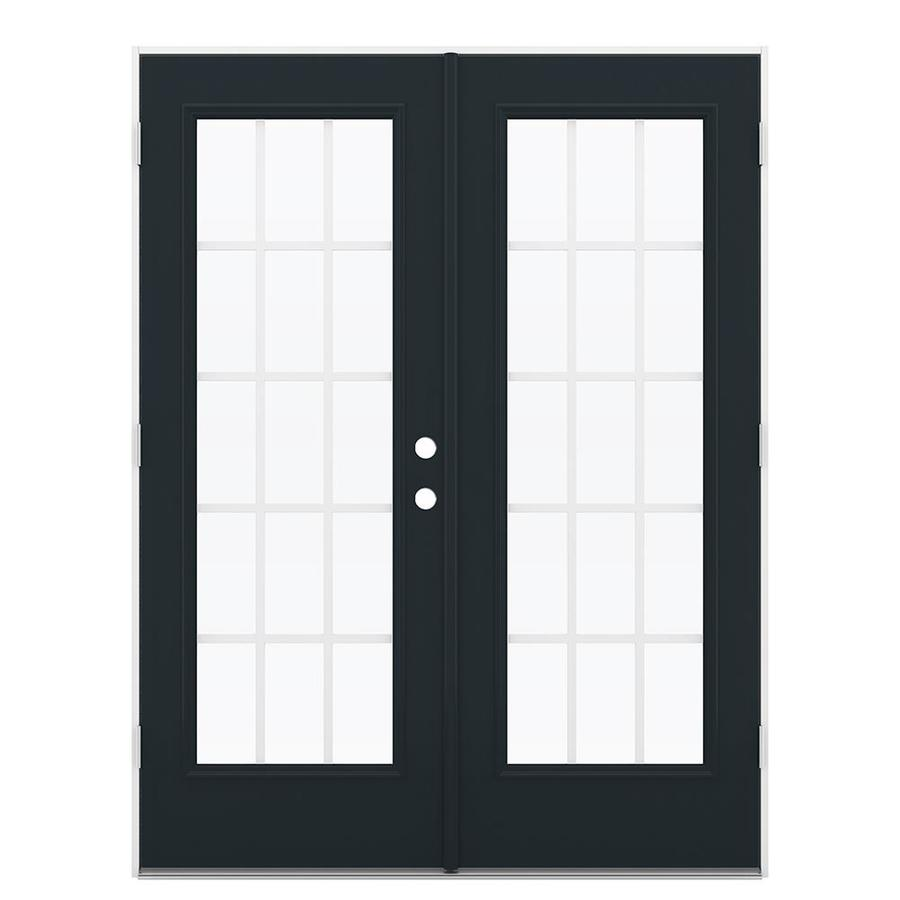 ReliaBilt 59.5-in 15-Lite Grilles Between the Glass Eclipse Steel French Outswing Patio Door