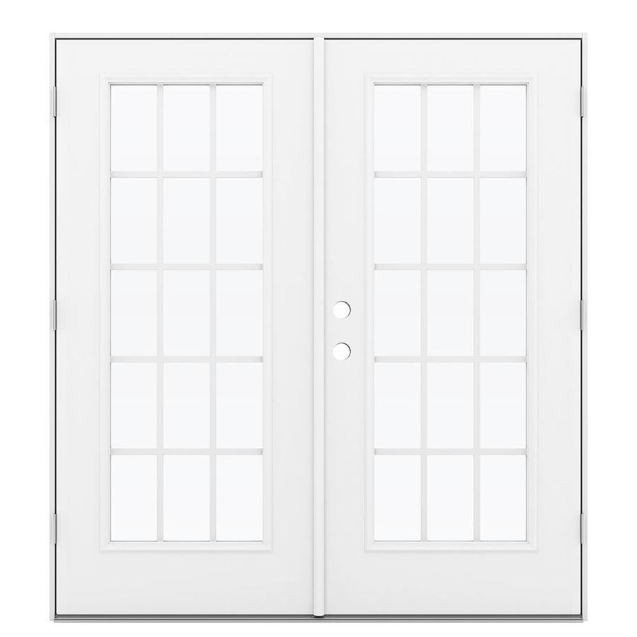 ReliaBilt 71.5-in 15-Lite Grilles Between the Glass Primed Steel French Outswing Patio Door