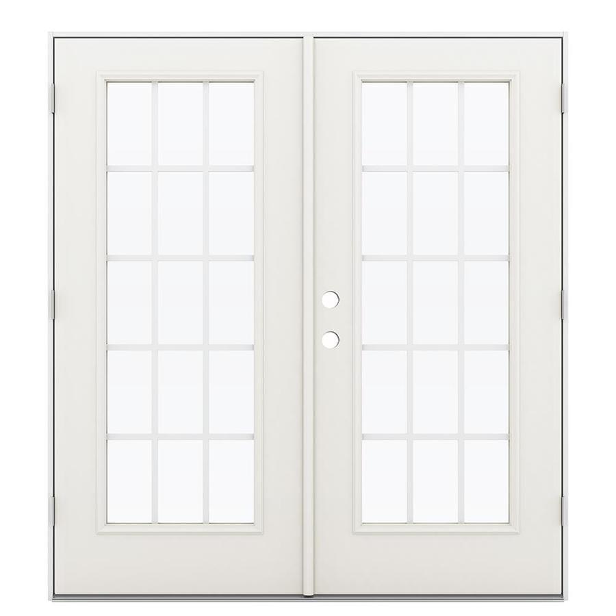 ReliaBilt 71.5-in 15-Lite Grilles Between the Glass Sandy Shore Steel French Outswing Patio Door