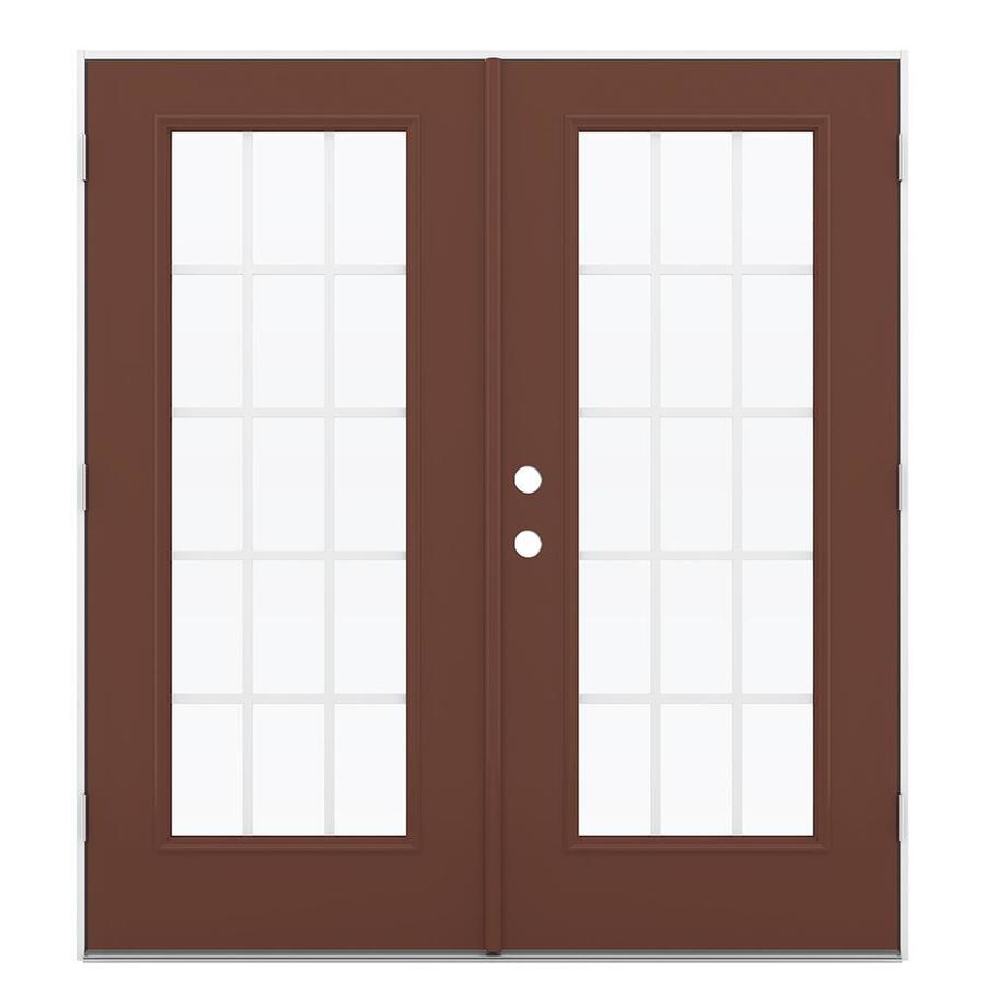 ReliaBilt 71.5-in 15-Lite Grilles Between the Glass Foxtail Steel French Outswing Patio Door