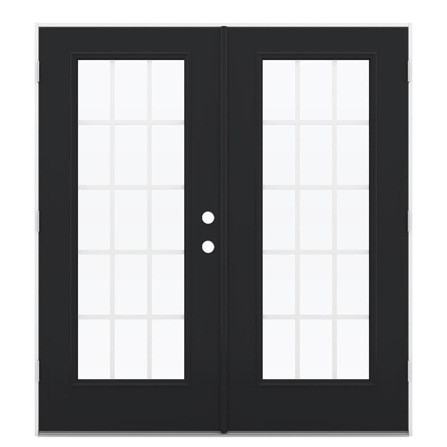 ReliaBilt 71.5-in 15-Lite Grilles Between the Glass Peppercorn Steel French Outswing Patio Door