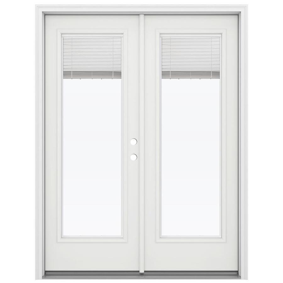 ReliaBilt 59.5-in Blinds Between the Glass Arctic White Steel French Inswing Patio Door