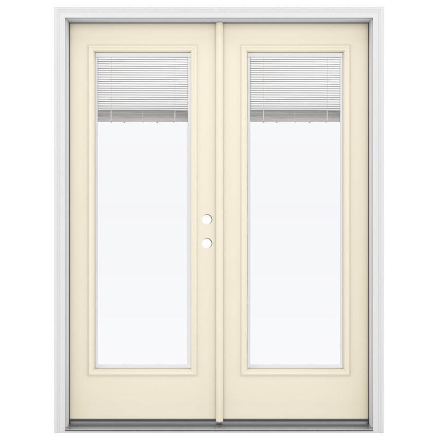 ReliaBilt 59.5-in Blinds Between the Glass Bisque Steel French Inswing Patio Door
