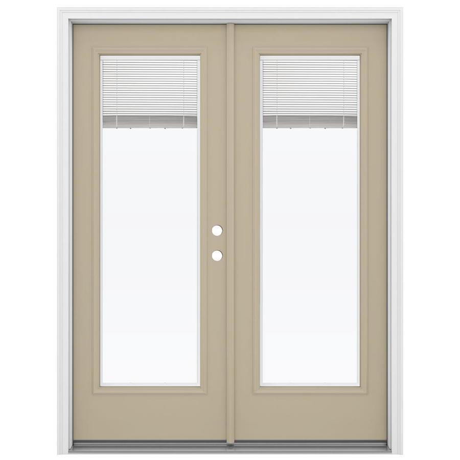 ReliaBilt 59.5-in Blinds Between the Glass Sandy Shore Steel French Inswing Patio Door