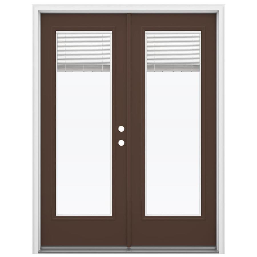 ReliaBilt 59.5-in Blinds Between the Glass Chococate Steel French Inswing Patio Door