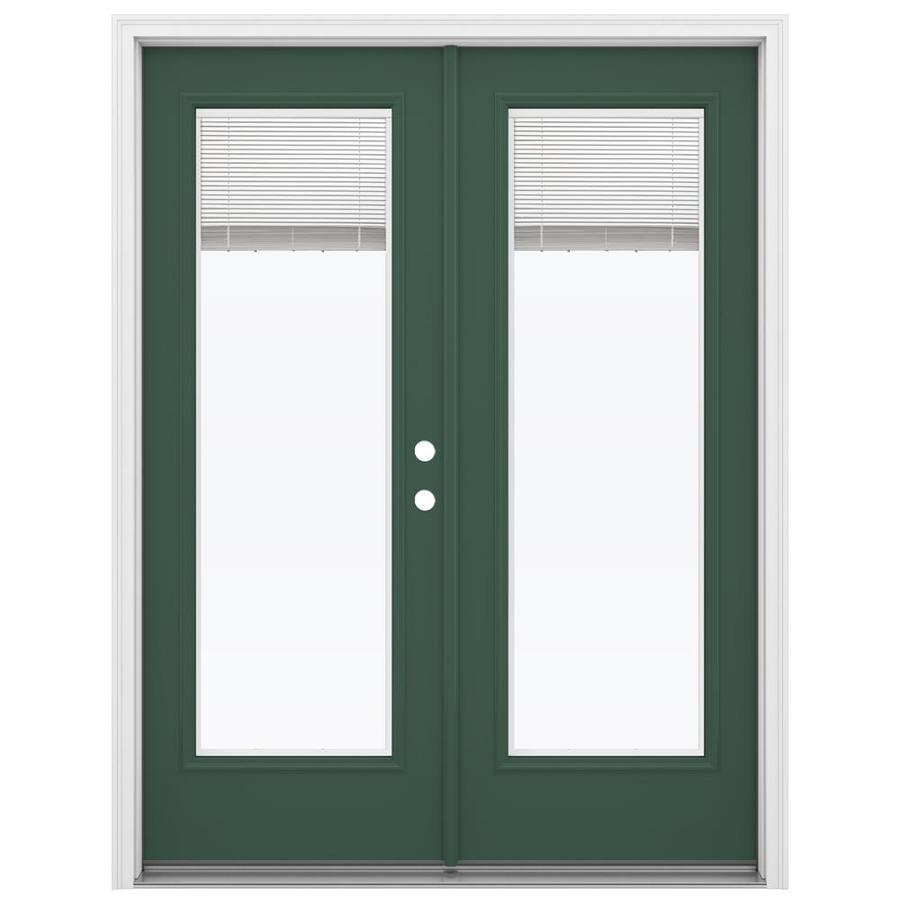 ReliaBilt 59.5-in Blinds Between the Glass Evergreen Steel French Inswing Patio Door