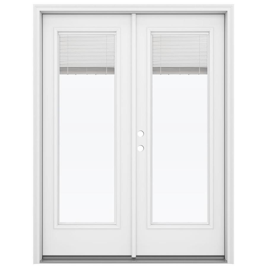 ReliaBilt 59.5-in Blinds Between the Glass Primed Steel French Inswing Patio Door