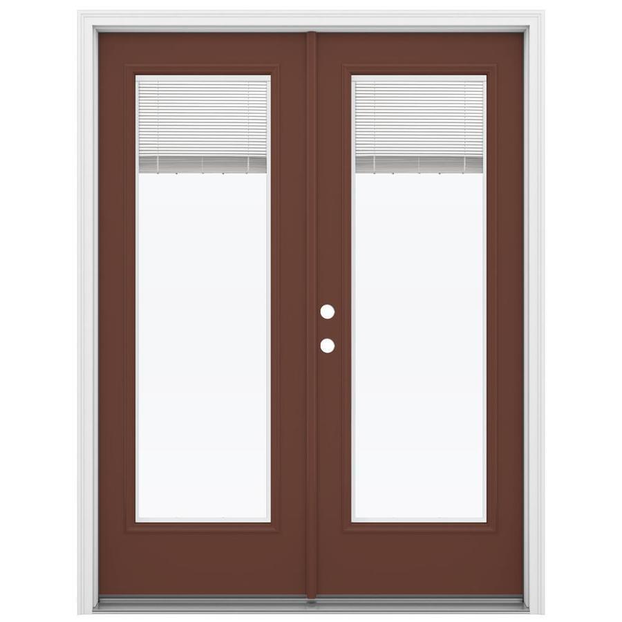 ReliaBilt 59.5-in Blinds Between the Glass Foxtail Steel French Inswing Patio Door