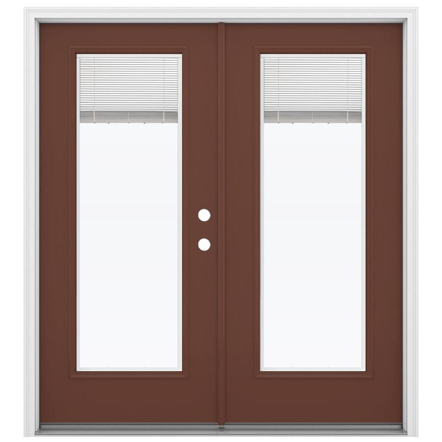 ReliaBilt 71.5-in Blinds Between the Glass Foxtail Steel French Inswing Patio Door
