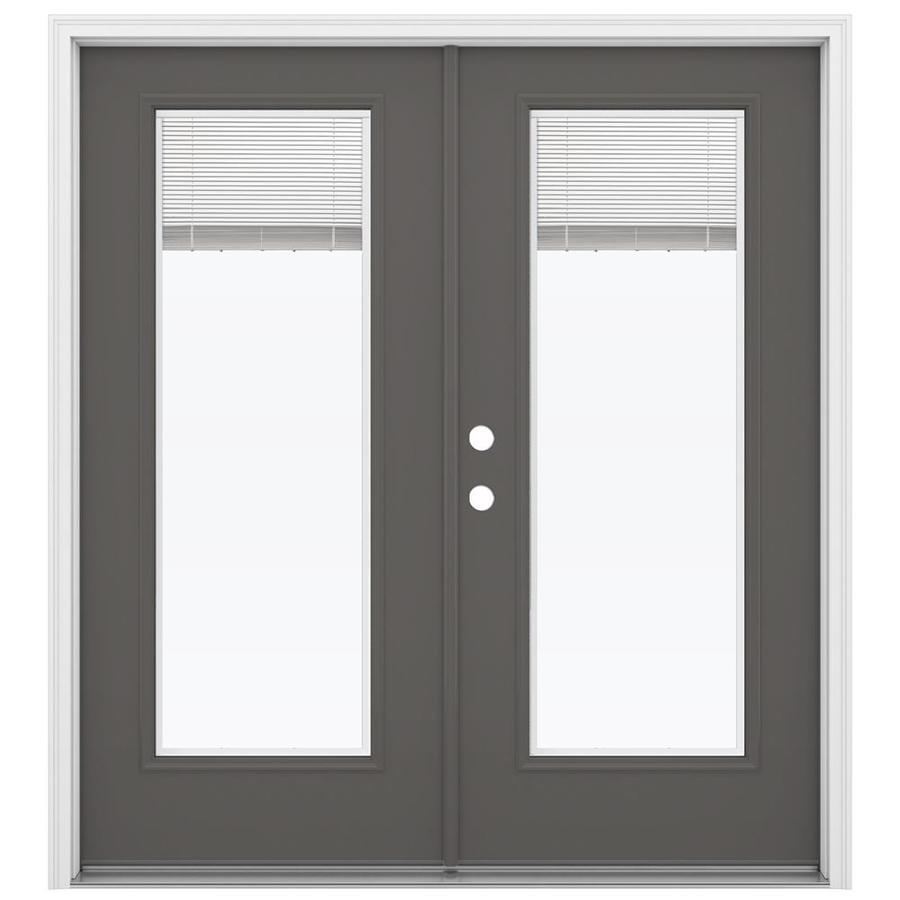 ReliaBilt 71.5-in Blinds Between the Glass Timber Gray Steel French Inswing Patio Door
