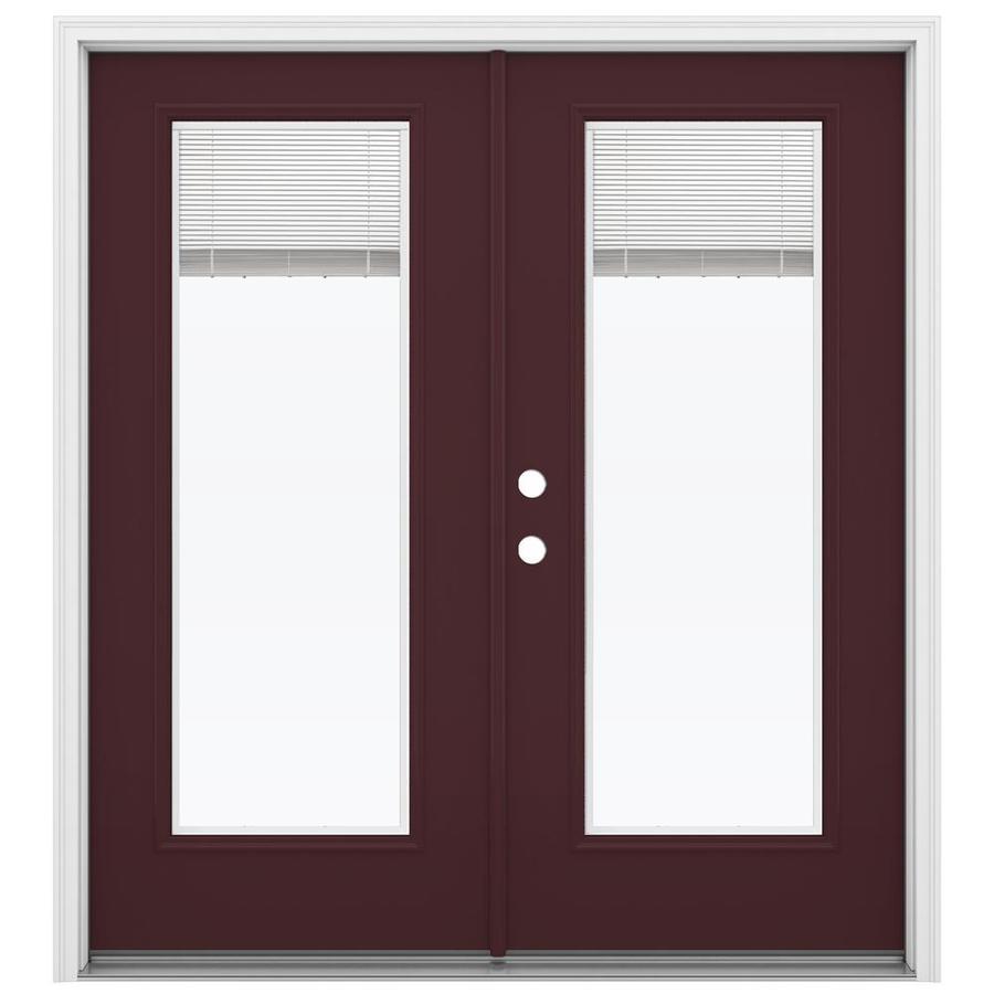 ReliaBilt 71.5-in Blinds Between the Glass Currant Steel French Inswing Patio Door