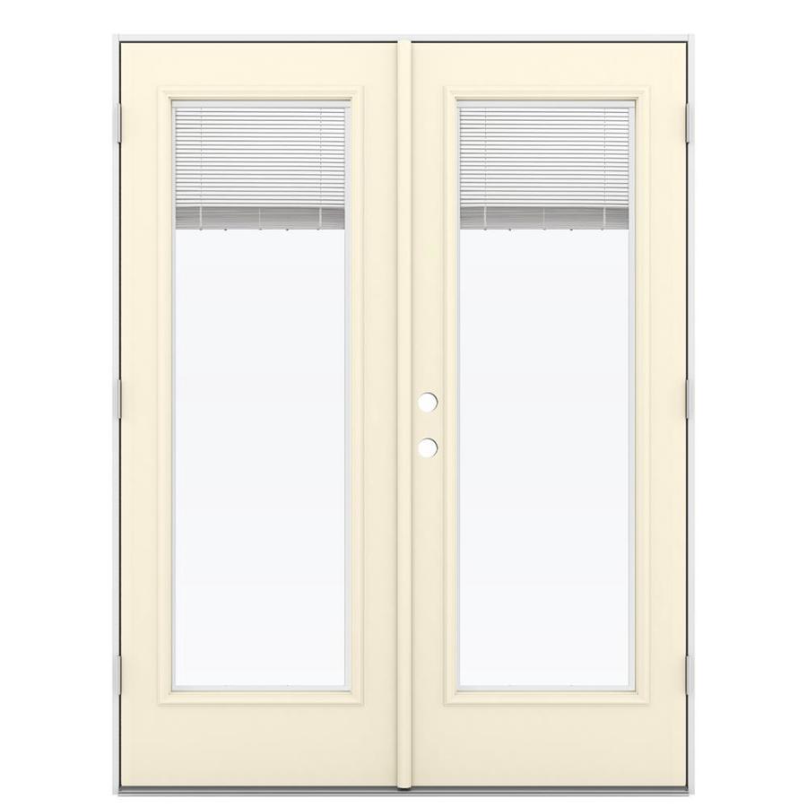ReliaBilt 59.5-in Blinds Between the Glass Bisque Steel French Outswing Patio Door