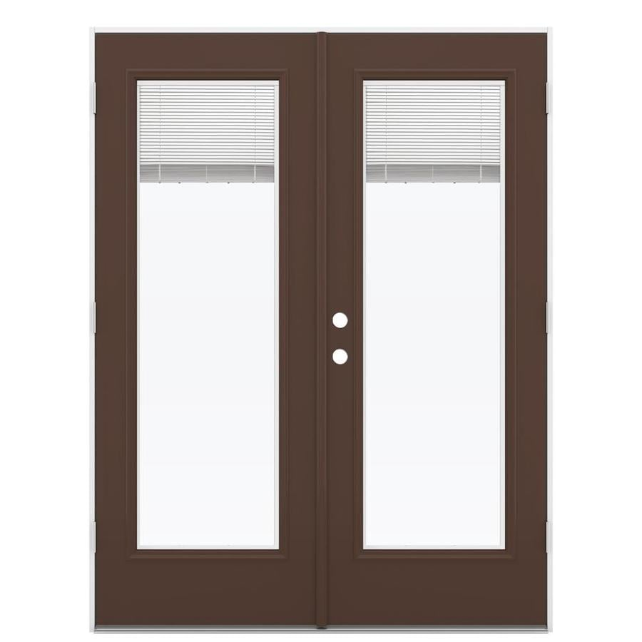 ReliaBilt 59.5-in Blinds Between the Glass Chococate Steel French Outswing Patio Door