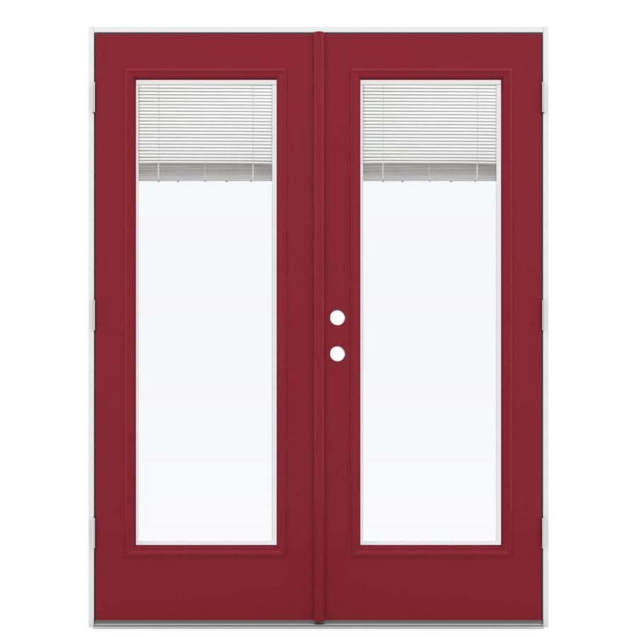 ReliaBilt 59.5-in Blinds Between the Glass Roma Red Steel French Outswing Patio Door