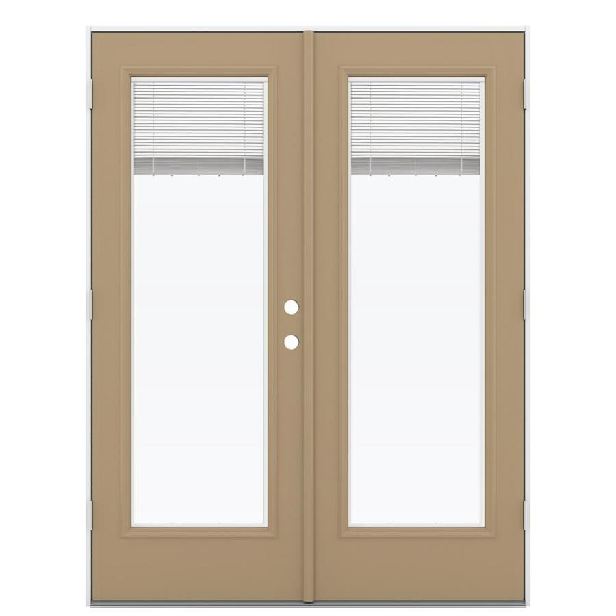 ReliaBilt 59.5-in Blinds Between the Glass Warm Wheat Steel French Outswing Patio Door