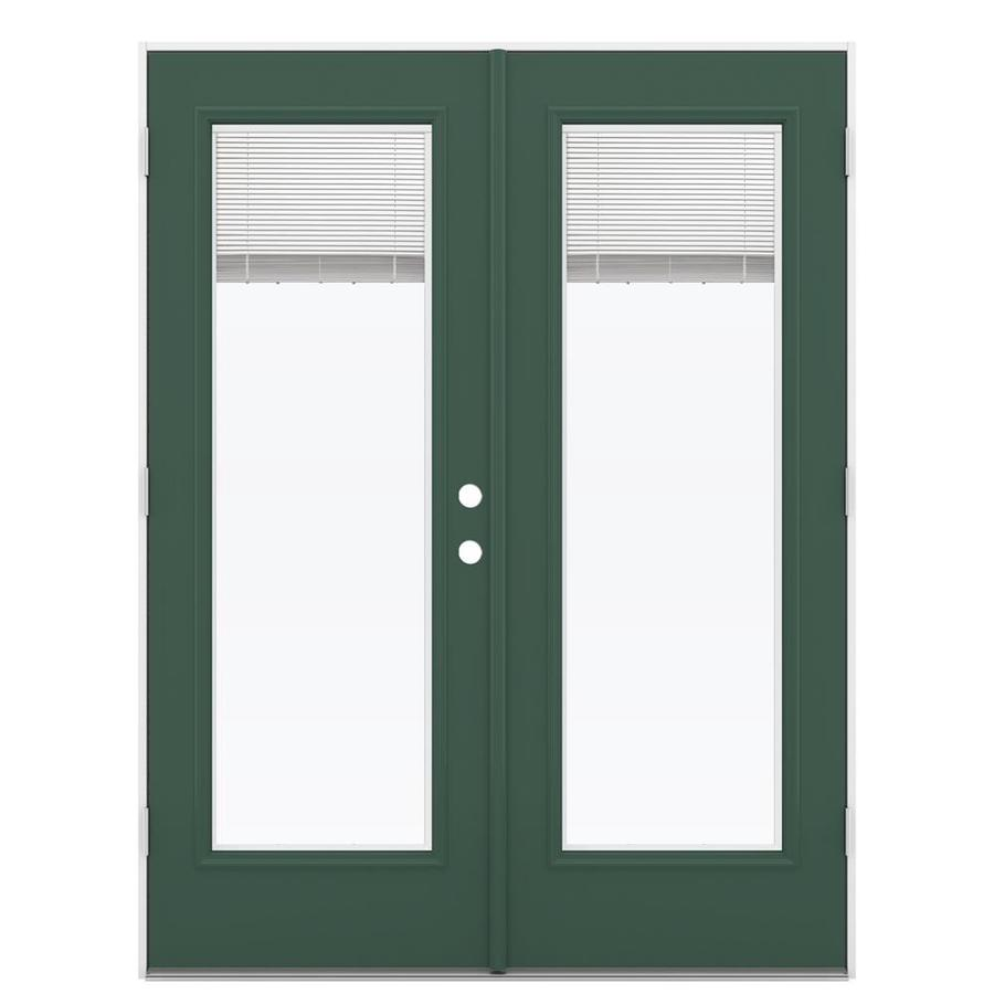 ReliaBilt 59.5-in Blinds Between the Glass Evergreen Steel French Outswing Patio Door