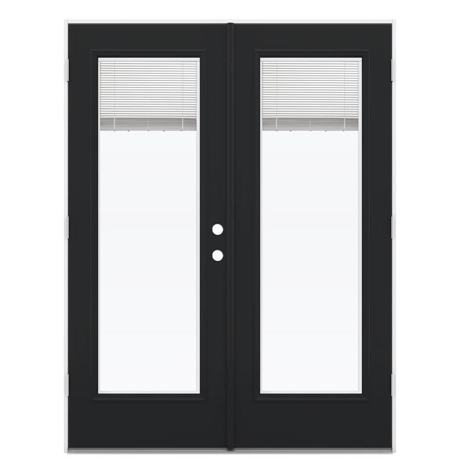 ReliaBilt 59.5-in Blinds Between the Glass Peppercorn Steel French Outswing Patio Door