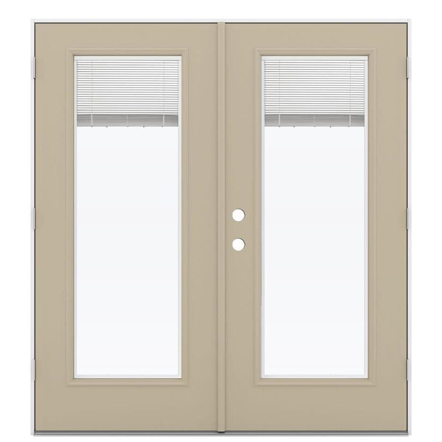 ReliaBilt 71.5-in Blinds Between the Glass Sandy Shore Steel French Outswing Patio Door