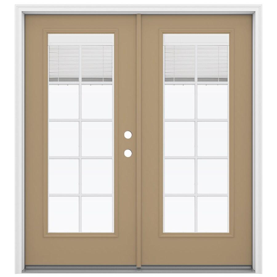 ReliaBilt 71.5-in Blinds Between the Glass Warm Wheat Steel French Inswing Patio Door