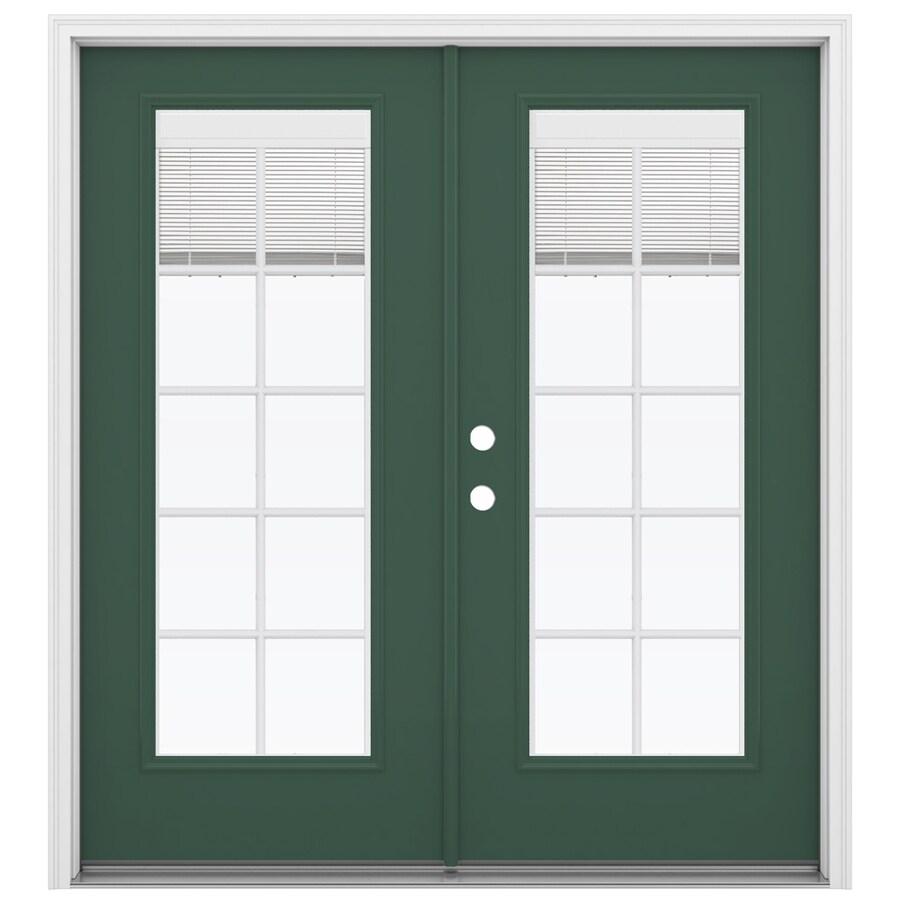 ReliaBilt 71.5-in Blinds Between the Glass Evergreen Steel French Inswing Patio Door
