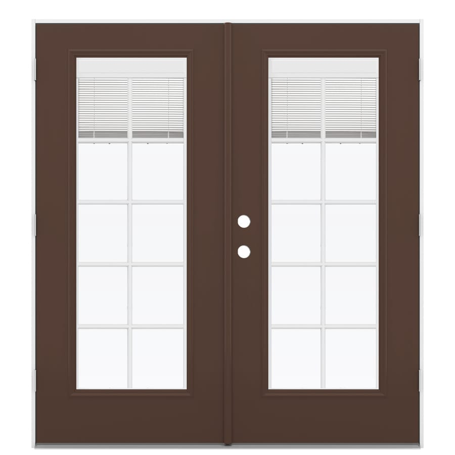 ReliaBilt 71.5-in Blinds Between the Glass Chococate Steel French Outswing Patio Door