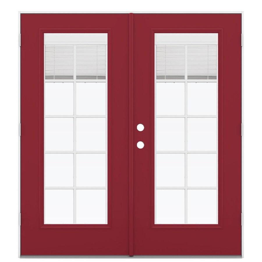 ReliaBilt 71.5-in Blinds Between the Glass Roma Red Steel French Outswing Patio Door