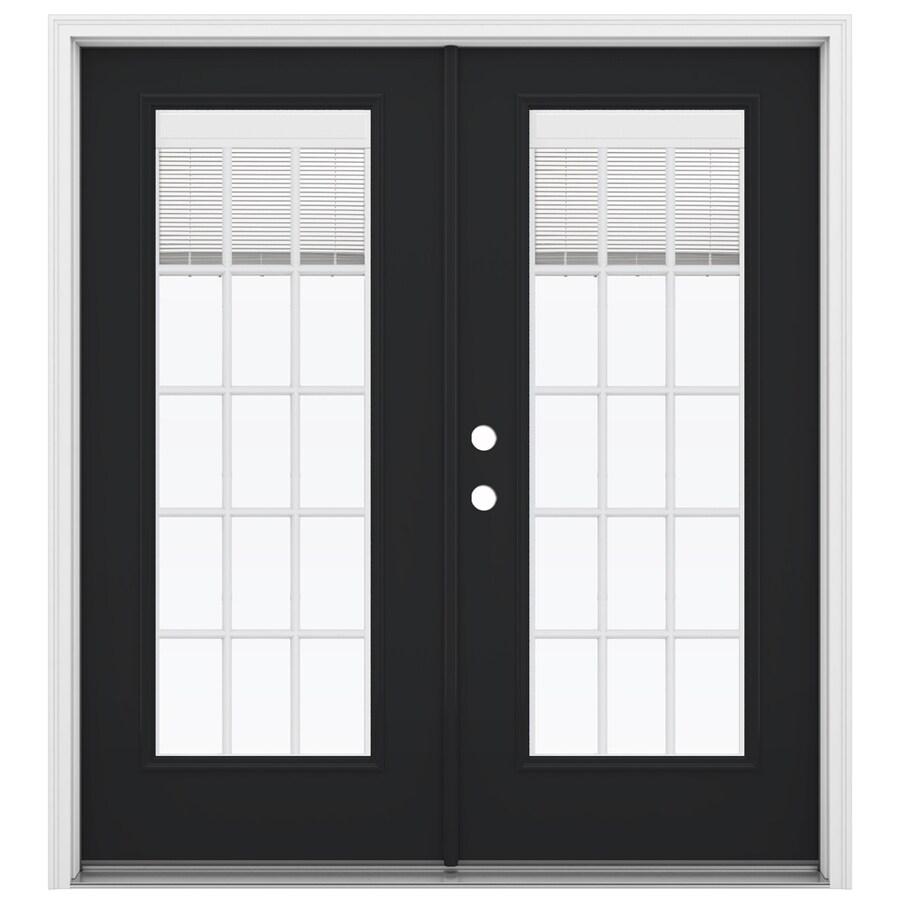 ReliaBilt 71.5-in Blinds Between the Glass Peppercorn Steel French Inswing Patio Door